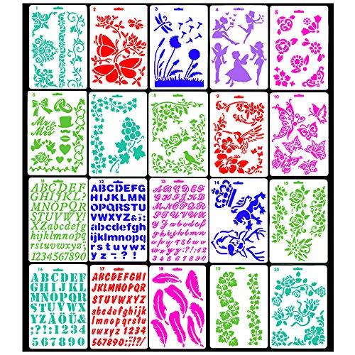 Lirener 20 piezas plástico Bullet Journal Stencil Set(mariposa, flores, Ángel, carta, número), plantilla plástico para cuaderno/diario/Scrapbook/tarjeta DIY proyectos de manualidade, 10.8x7.5 pulgadas
