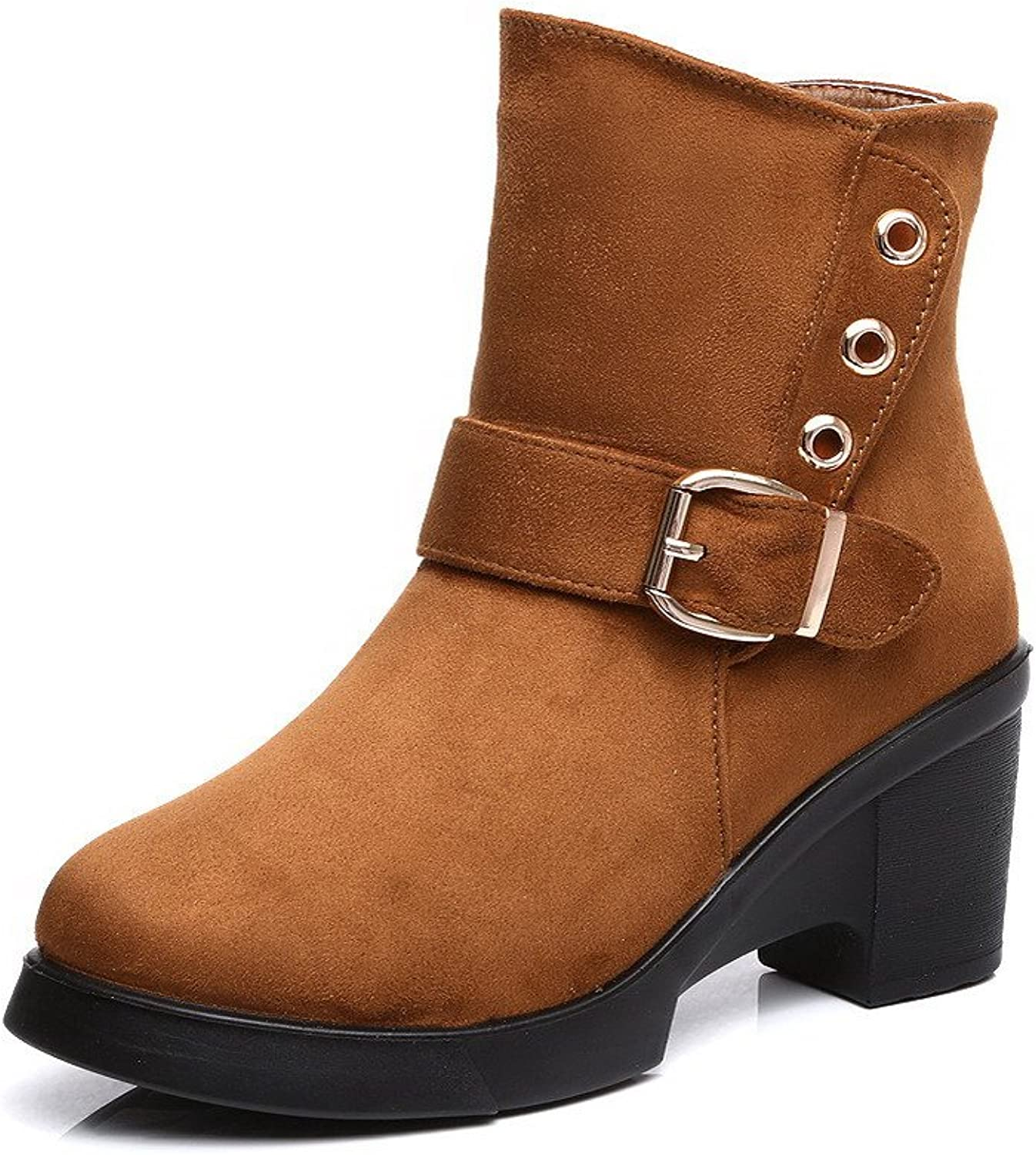 WeiPoot Women's Low Top Solid Zipper Round Closed Toe High Heels Boots with Metal Piece