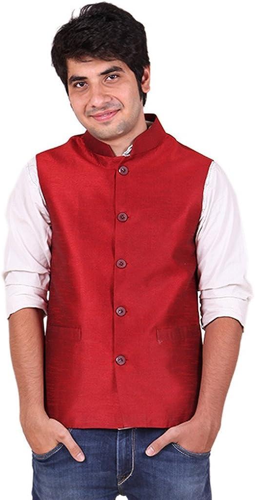 Royal Men's Polysilk Denver Mall Nehru Jacket Banarsi Dupion Max 45% OFF