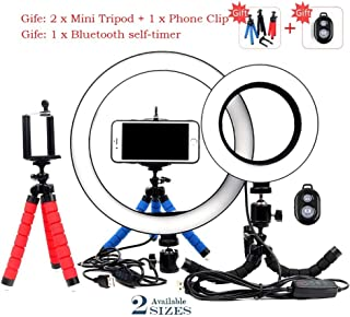 Size : 20CM XINHUANG Photography LED Selfie Ring Light 26CM Dimmable Camera Phone Ring Lamp 10inch with Table Tripods for Makeup Video Live Studio