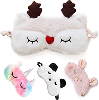 Cute Sleep Mask - Soft and Comfortable Animal Plush Blindfold Eye Cover for Kids Girls Women, Great Eyeshade for Travel, Shift Work, Meditation, Washable(White Deer)