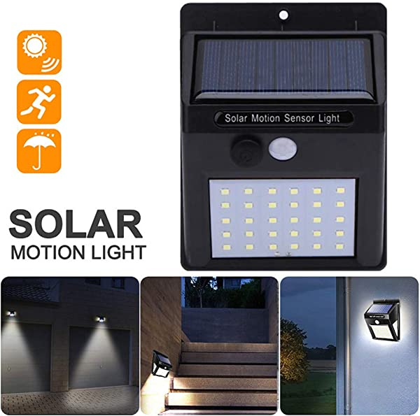 Businda Outdoor Solar Motion Sensor Light Ip65 Waterproof Hest And Frost Resistance 30LED Wireless Night Light With Auto On And Off For Front Door Back Yard Driveway Garden Patio Garage
