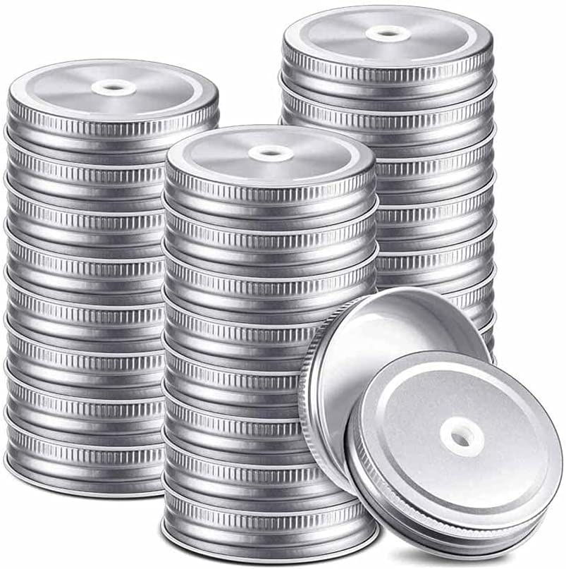 HAHFKJ 32 Pieces Metal Regular Mouth Limited Special Price Ranking TOP4 Mason Jar Silver Lids with
