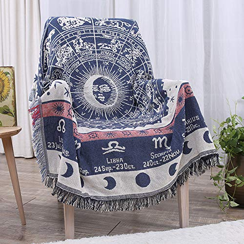"Erke Astrology Throw Blanket Tapestry with Boho Fringe for Couch Bed, Cotton Woven Reversible Knit Cover Hippie Blankets for Sofa Room Wall Decor - 50"" X 70"" White/Blue"