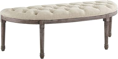 Modway Esteem Vintage French Upholstered Fabric Semi-Circle Entryway Bench in Beige