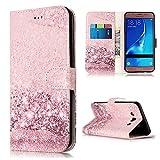 pinlu® Funda para Samsung Galaxy J5 (2016 Version, 5.2 Pulgada) J510 Prima PU Billetera Flip Wallet Case Carcasa Soporte Función con Ranuras de Tarjeta Diseño Mármol Patrón Rose Gold