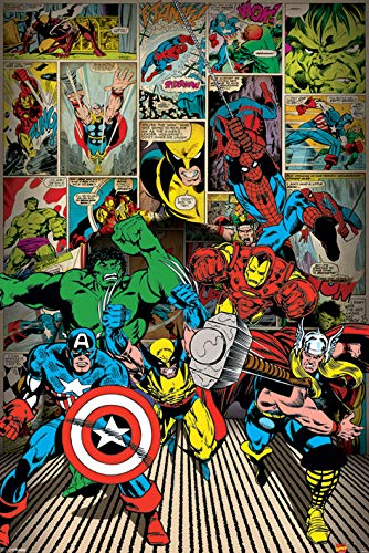 Marvel Pyramid International Here Come The Heroes Comics Maxi Póster, Multicolor, 61 x 91,5 x 1,3 cm