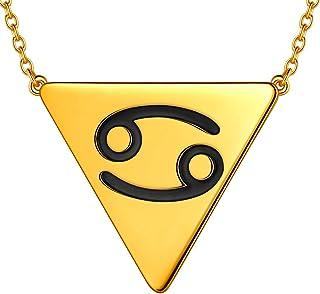 beautlace Horoscope Zodiac Triangle Necklaces 12 Constellation Astrology Charm 18K Gold/Silver/Black Gun Plated Pendant Ne...