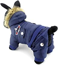 Zunea Padded Waterproof Small Dog Winter Jumpsuit Pet Puppy Hooded Jacket Coat Fleece Warm Snowsuit Airman Chihuahua Outfit Clothes (This Style Runs Small, Pls Choose One/Two Size Larger Than Normal)