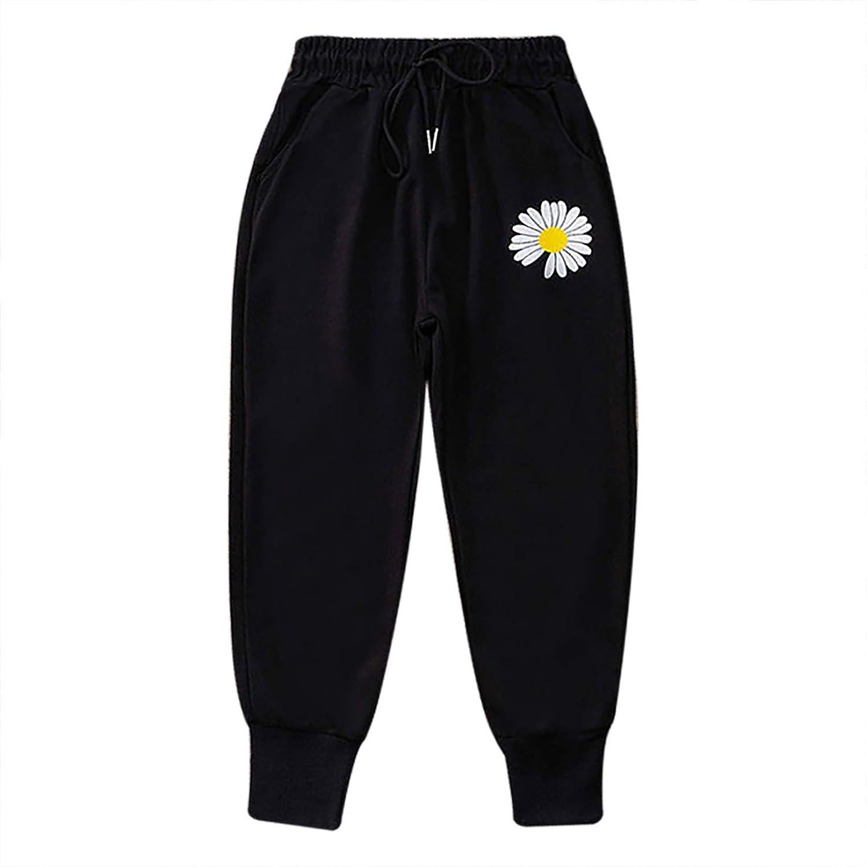 Doomiva Kids Girls Joggers Sweatpants Athletic Active Workout Striped Trousers Leggings Sport Casual Wear Black Chrysanthemum 4