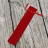 VDN - Astuccio portapenne in velluto con corda per penna a sfera e penna a sfera Rosso