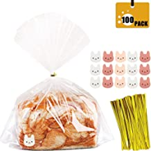 Large Clear Bread Bags with Ties, 100 Clear Bags,100 Golden Ties and 144 Stickers