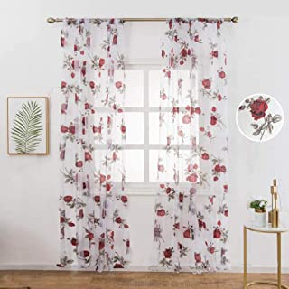 WUBODTI Floral Printed Sheer Voile Tulle Fabric Window Curtains 2 Panels Red Rose Flower Gauze Linen Look Drapes and Curtains for Bedroom Living Room Glass Sliding Door, 39
