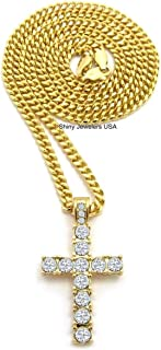 Shiny Jewelers USA Mens ICED Out Egyptian Gold Micro Cross Hip HOP Pendant Cuban Chain Necklace