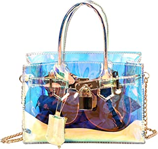 OULII Colorful Transparent Bag Holographic Laser Clear Tote Bag Crossbody Shoulder Bag for Women Lady