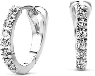 Miore Orecchinino Donna Cerchio con Diamanti taglio Brillante Ct. 0.11 in Oro Bianco/Giallo 14 Kt 584