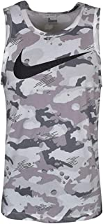Men's Dry Camo Swoosh Tank Top(Dark Grey/Black/White,Small)