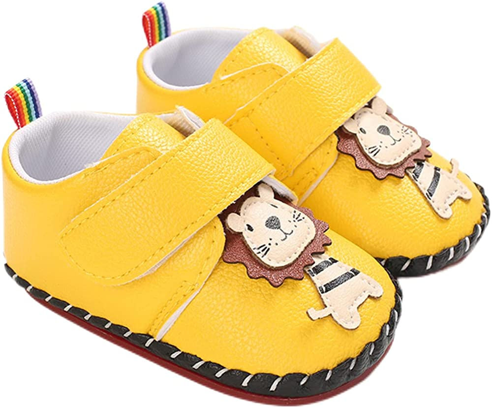 AMSDAMA Unisex Baby Shoes Infant Anti-Slip and Dirt-Resistant Rubber Sole PU Soft Leather Lion Sneakers Flats Toddler