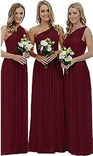 Women's One Shoulder Bridesmaid Dresses Long Asymmetric Chiffon Wedding Party Gowns