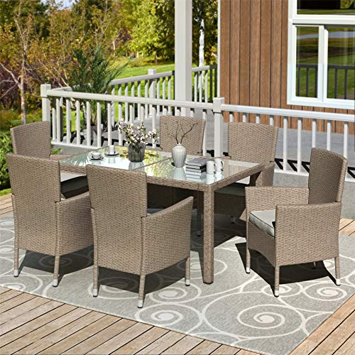 Patio Dining Set, 7 Piece Outdoor Table and Chairs, Patio Conversation Sets, Beige Brown