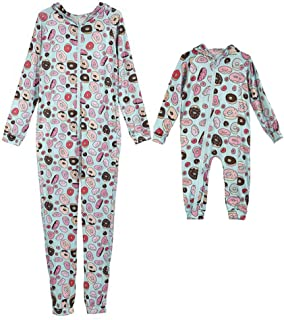 Family Matching Outfits Set Donut Bread Print Long Sleeve Hooded Zipper Romper Jumpsuit Pajamas for Dad Mom Baby