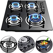 LFJD 23.3'' Built-in 4 Burners Gas Cooktop Stove Cook Top with LPG/NG Conversion Kit w/Tempered Glass Gas Hob Panel Easy t...