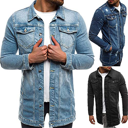 Yczx Men's Denim Long Jacket Regular-Fit Destroyed Spring Biker Autumn Transition Stylish Hipster Jeans Jackets Unique Denim Casual Jacket Vintage Retro Tops Men M