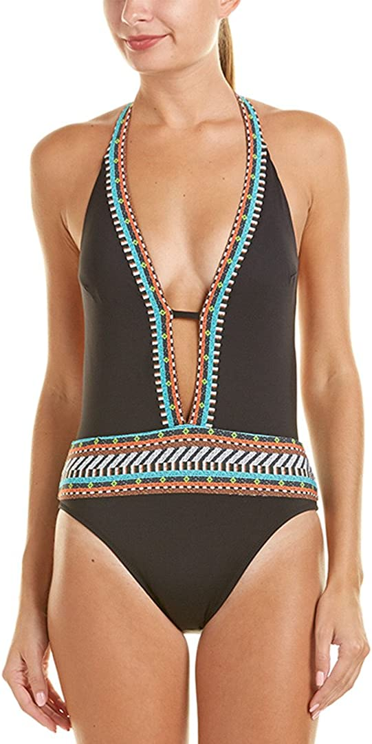 Nanette Lepore Women's Tribal Beat Solid Embroidery Goddess One Piece Mio Swimsuit