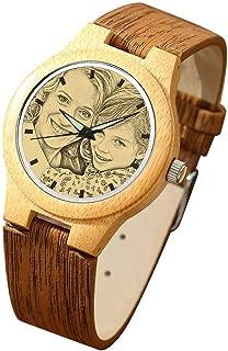 Reloj Madera Personalizado Foto y Grabado Punteros Luminosos Cuarzo con Correa Cuero Regalo para Familia Hombre Mujer Amigo Pareja
