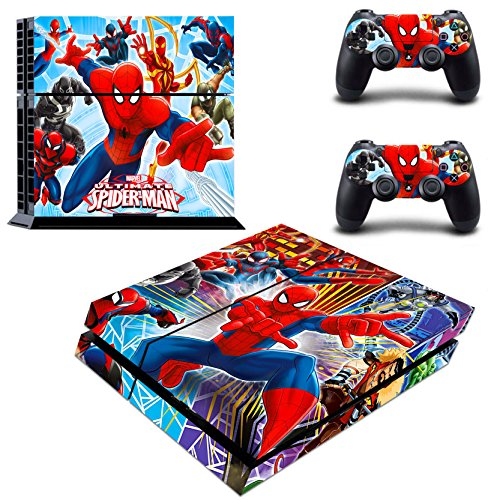 Vanknight Vinyl Decal Skin Stickers Cover Set for PS4 Console Playstation 2 Controllers Spider-Man