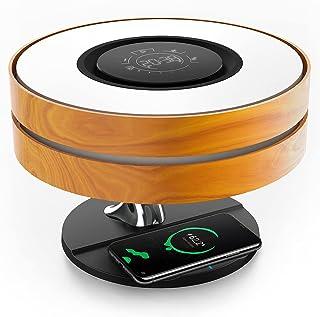 Ampulla Horizonベッドサイドランプ、TWS Bluetoothスピーカーと10Wワイヤレス充電器付き、テーブルランプ、デスクランプ(デジタル時計付き)、無段階調光、眠りの浅い人向け、スリープモード付き