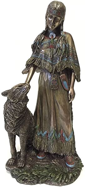 Native American Indian Woman With Wolf Statue Sculpture