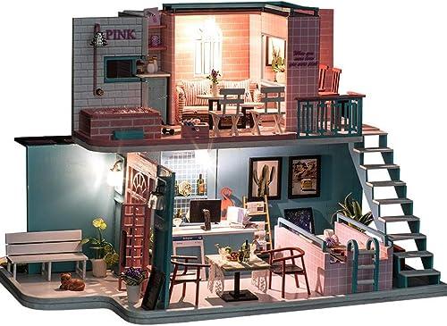 WANGHHH Casa de Bricolaje Hecha a Mano casa de café casa Modelo Villa montada Juguete Regalo Creativo Regalo de año Nuevo