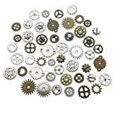 Youdiyla Crafts Steampunk Gear Cog Wheel 130pcs Skeleton Watch Clock Pendant Charms for Jewellery Making Assorted Colors (HM80)