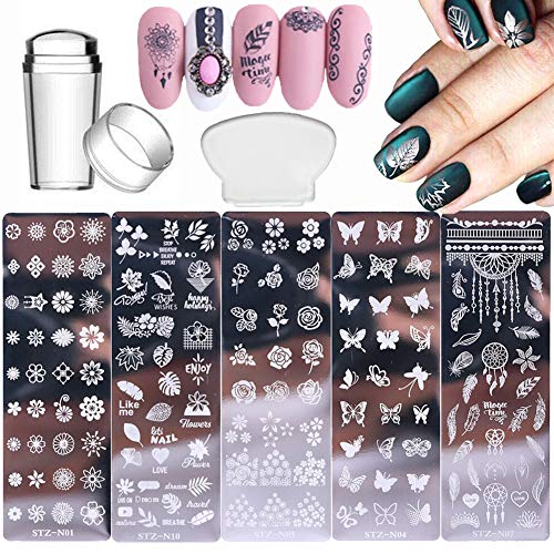 Nail Stamp Plates Set 5 Pcs Nail Stamping Plates + 1 Stamper + 1 Scraper Butterfly Flower Feather Nail Plate Template for Women Nail Art Decoration Manicure Template