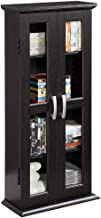 Walker Edison 41 Wood Media Storage Accent Cabinet with Glass Doors, Black