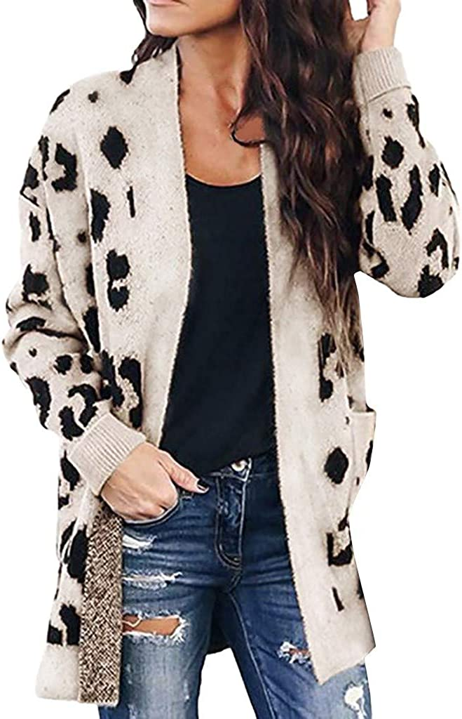 Cardigan for Women, Misaky Autumn Winter Long Slim Leopard Long Sleeve Pocket Casual Tops Outwear Coat