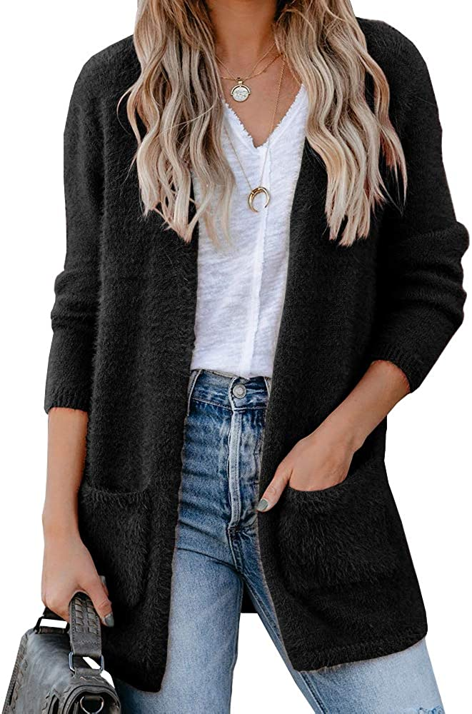 Chang Yun Women's Fuzzy Open Front Cardigan Sweater Fluffy Long Sleeve Casual Soft Knit Warm Coat with Pockets