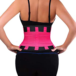 Waist Trainer Belt for Women & Men, Waist Trimmer Sweat Band - Neoprene Sports Girdle Belt for Weight Loss, Body Shaper, Workout Slimming, Low Back and Lumbar Support with Sauna Suit Effect (Red,S)