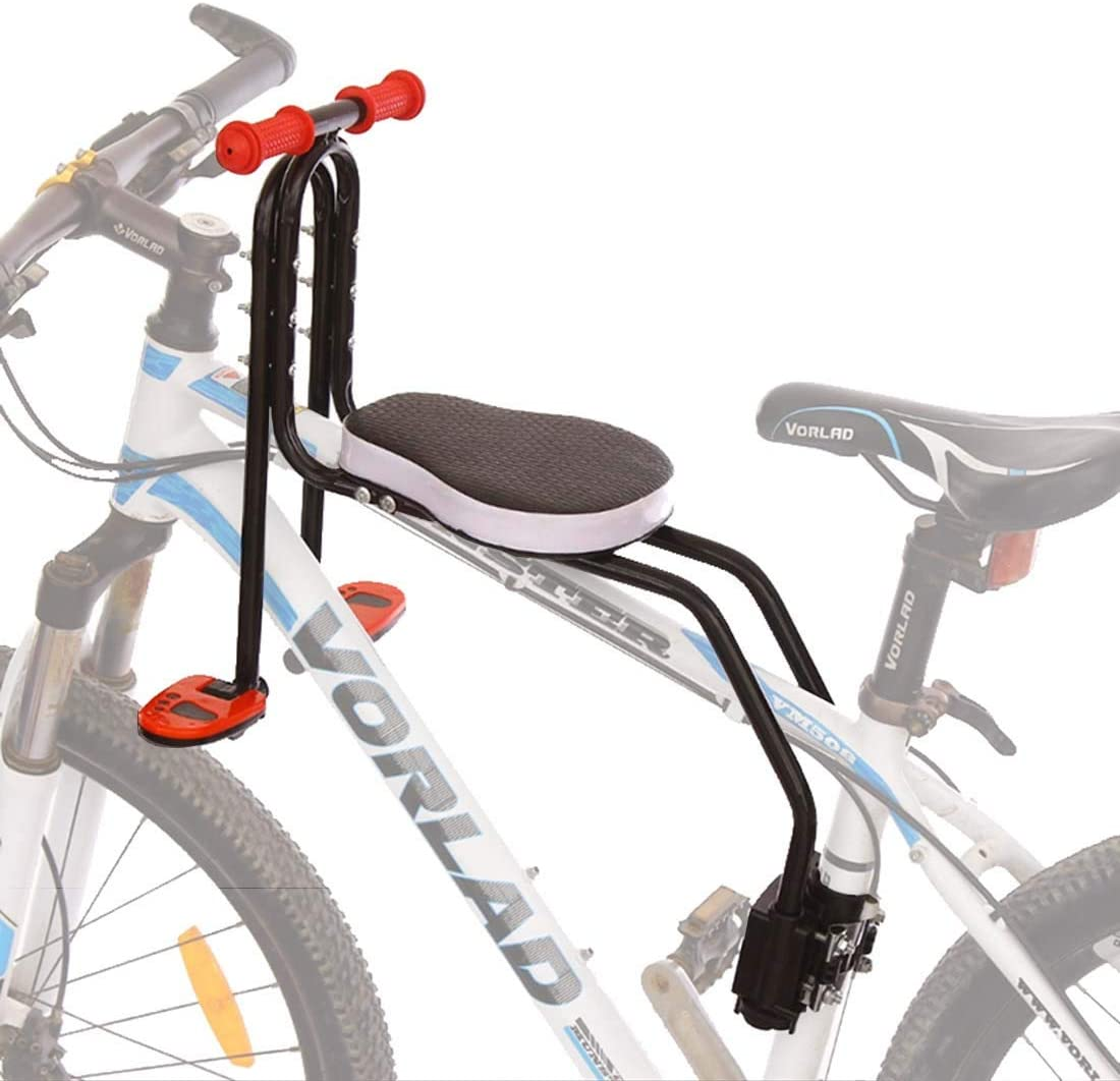 FenglinTech Baby Bike Seat, Child Safety Carrier Front Seat with Armrest and Foot Pedals