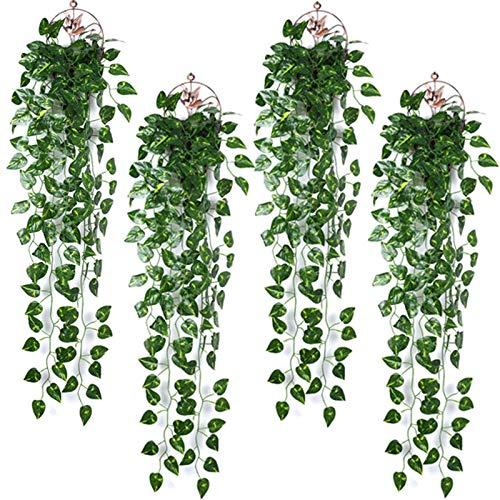 4 pcs Hiedra Artificial, Plantas Helechos Artificiales Colgantes 90cm Enredaderas Plastico Guirnalda Hojas Verde Planta,para Interior Exterior Boda Pared Jardín Valla Oficina