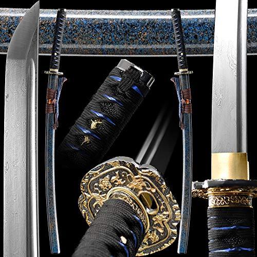 Samurai Sword Real Full Handmade Japanese Katana,1095/Damascus Folded Steel,Battle Ready Real,Full Tang,Razor Sharp