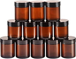12 pack 4oz Empty Amber Glass Round Jars bottles with White Inner Liners and black Lids.Glass Jars Prefect for Cosmetics and Face cream Lotion.