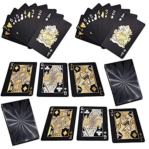 Migimi Card Games Poker, Juego de 2 Juegos de Cartas, Tarjetas de póquer Impermeables, Naipes, novedosas Herramientas de póquer Familiar, Juego de Fiesta (Negro y Dorado), Fiestas