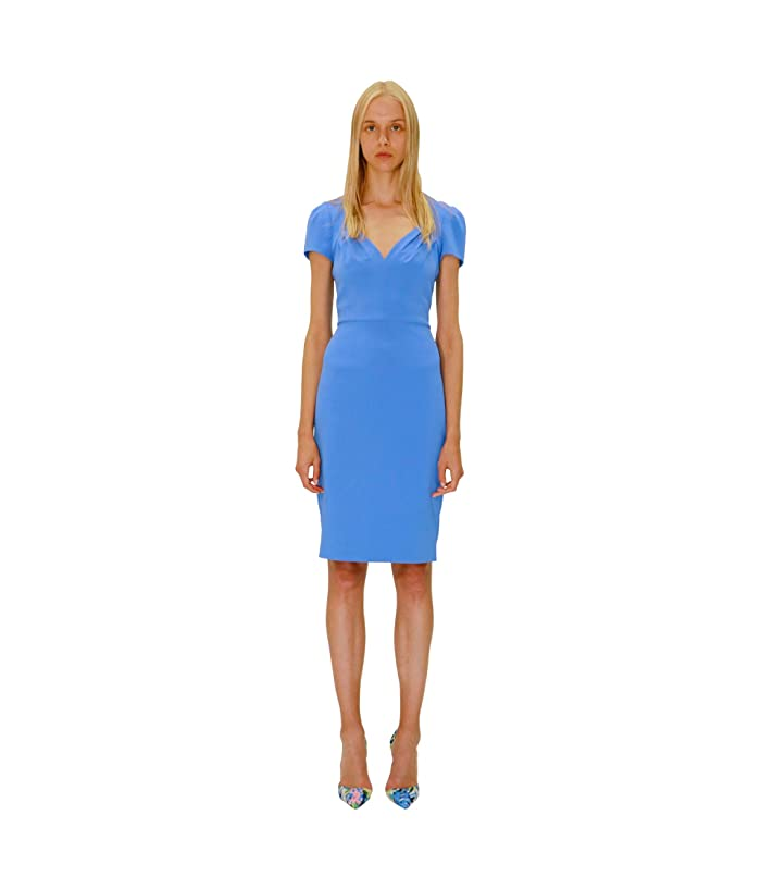 Badgley Mischka  V-Neck Cap Sleeve Crepe Dress (Light Blue) Womens Clothing