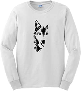 Wolf Face Shadow Sketch Wolves Long Sleeve T-Shirt