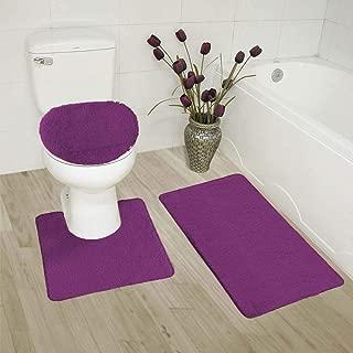 GorgeousHomeLinenVarious Colors 3 Pc Bathroom Set Bath Mat, Contour, and Toilet Lid Cover, with Rubber Backing (Purple #6)
