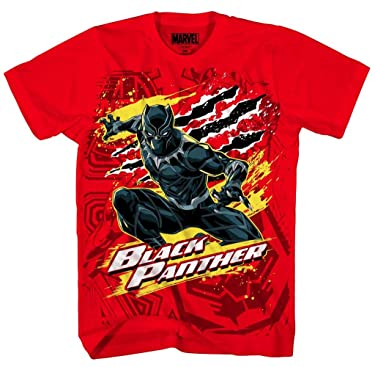 Marvel Black Panther Boys' Panther Party Tee, Red
