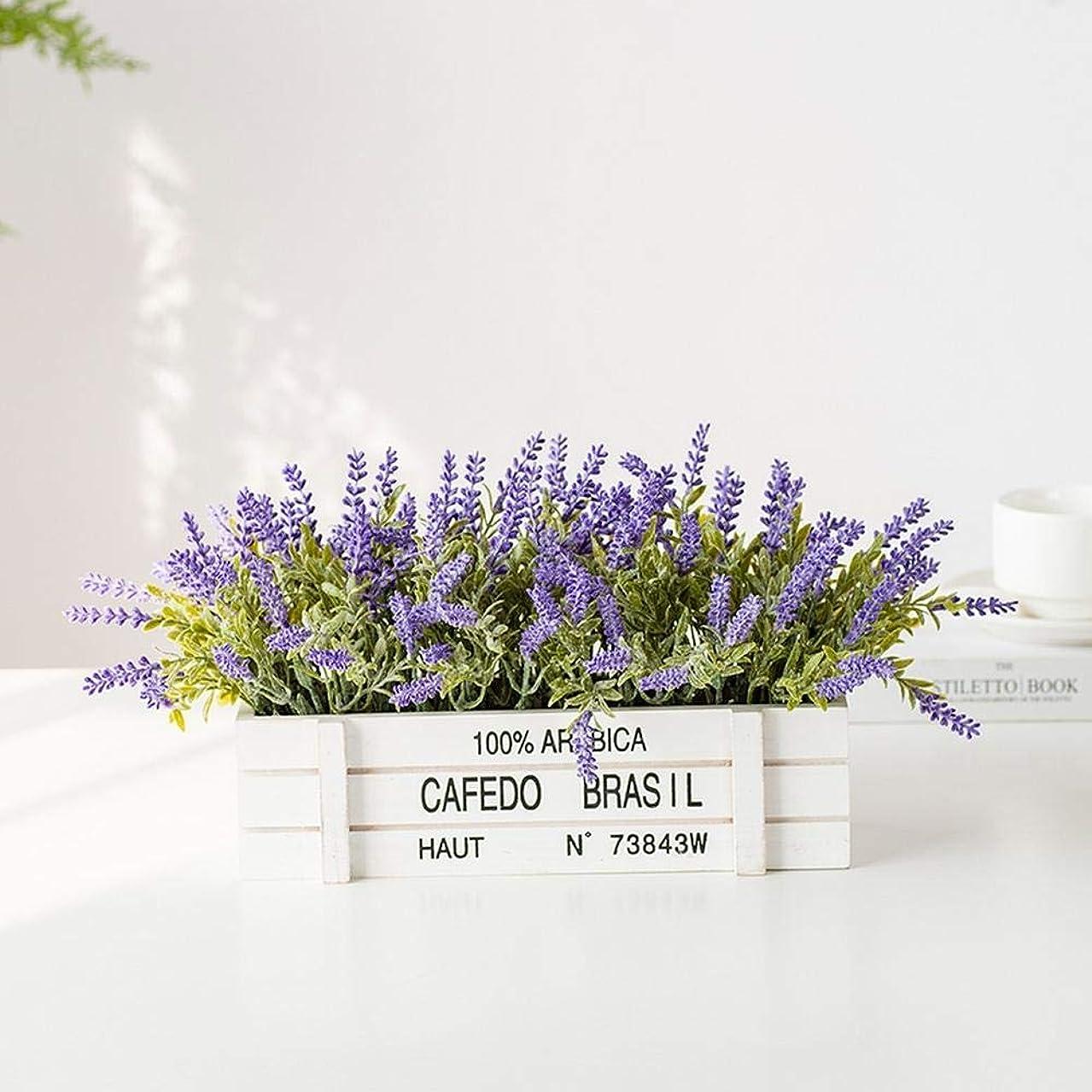 指マッシュバレエ造花 リビングルーム寝室パーティーダイニングテーブル窓敷居結婚式の装飾木製フラワーポットホリデーギフトミニ鉢植えラベンダー