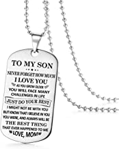 Jvvsci To My Son Dog Tag Just Do Your Best Inspirational Necklace Keychain,Encouragement Gift,Uplifting Jewelry